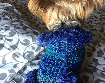 Blue multi fur hoodie