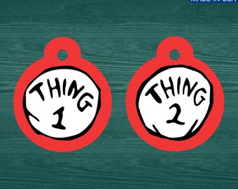 Thing 1 and Thing 2 aluminum pet tags