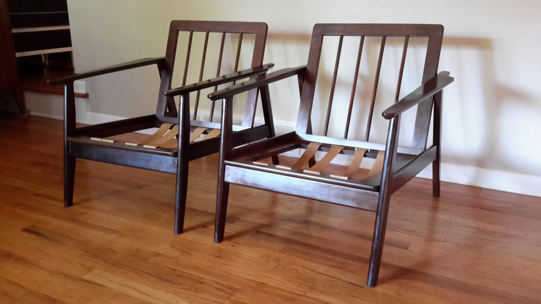 Mid century modern danish wood lounge chairs haute juice