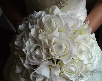 White Bridal Bouquet with Groom's Boutonniere-White Real Touch Rose Bridal Bouquet-White Bridesmaid Bouquet-Silk Flower Wedding Bouquet