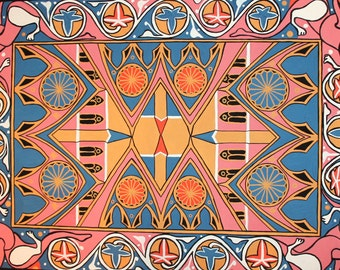 Vintage Abstract Gouache Painting Pattern