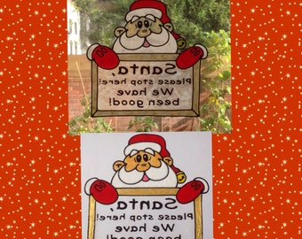 Santa stop here Window Cling for glass & mirror surfaces, Christmas handpainted decal, reusable static cling faux stained glass decoration