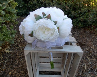 Silk Peony Bouquet - Bridal Bouquet - Wedding Bouquet - Bridesmaid Bouquet - Maid of Honor - Vintage Inpsired - Rustic Bouquet - 12 Blooms