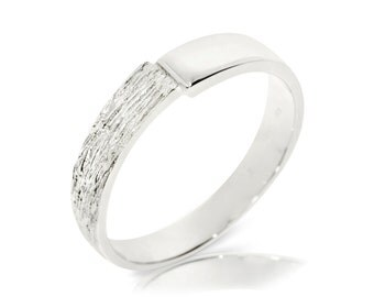 Textured Wedding Band, 14K White Gold Ring Size 8 White Gold Band Ring, Wedding Jewelry Gift, Women Anniversary Gift