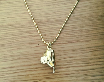 Unisex gold plated ball chain , Gold Bullet Pandent Necklace , Unique gift for him.