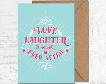 Wedding Card, Engagement Card, Anniversary Card, Boyfriend Card, Girlfriend Card, Husband Card, Wife Card, Happily Ever After, Love Card