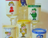 Set of 6 Clue Character Painted Rocks Glasses