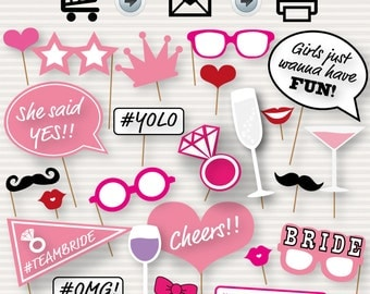 Printable Bridal Shower Photo Booth Props - Bride Photobooth Props - Bachelorette Printable Props - Bachelorette Party