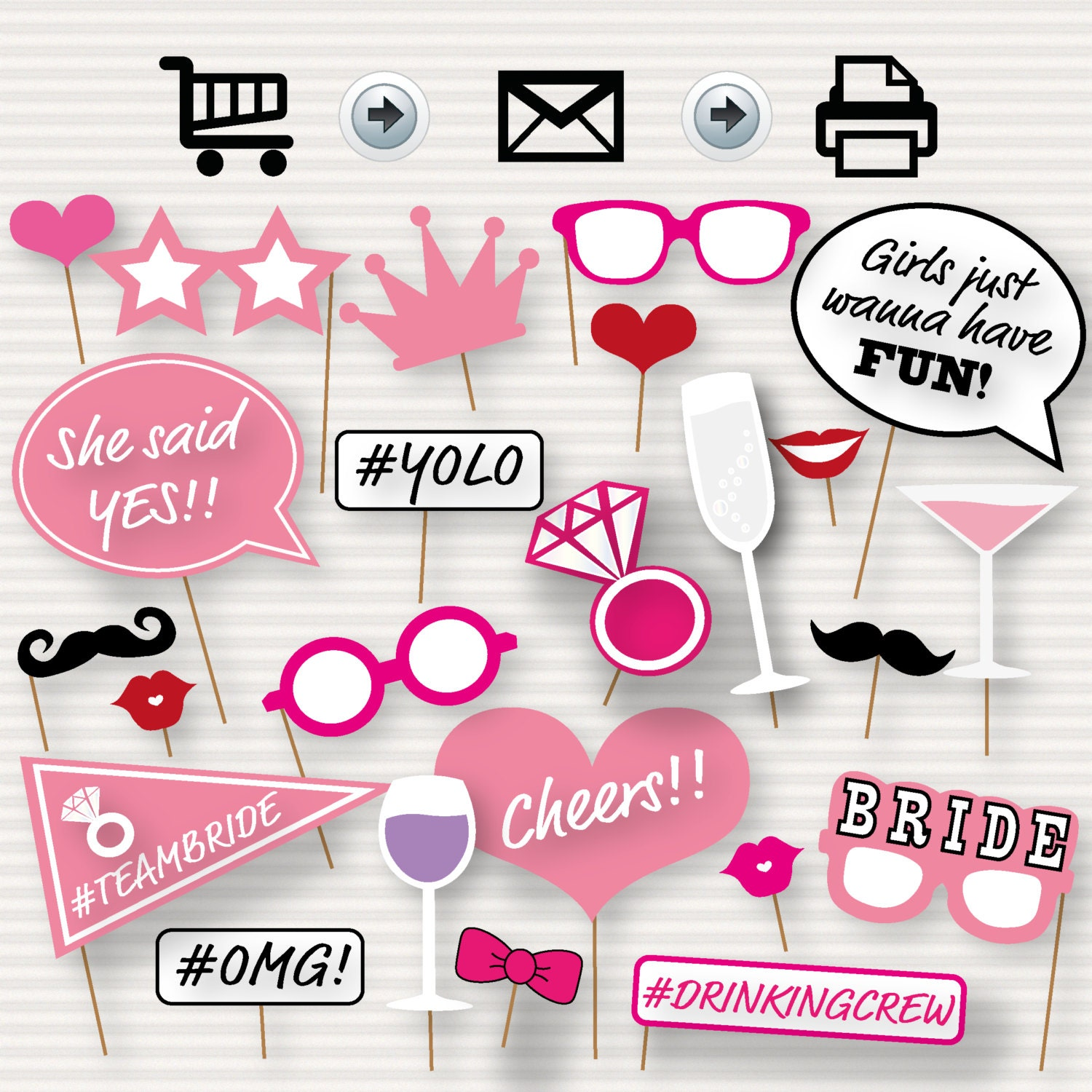 Printable Bridal Shower Photo Booth Props Bride Photobooth