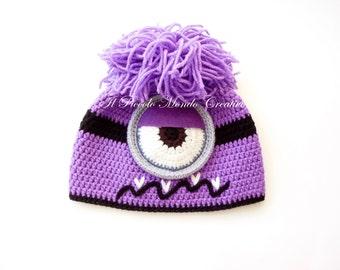 Evil Minion hat, Purple Minion Hat, Crochet Minion Hat