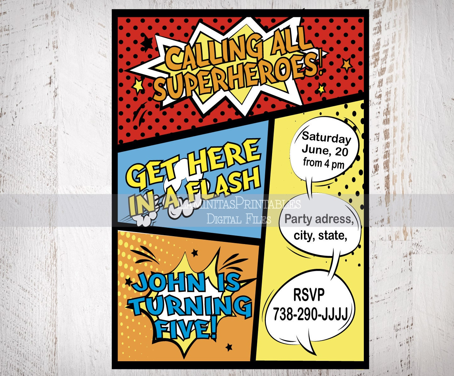 Superhero Birthday Invitation Party 1st Baby Invites