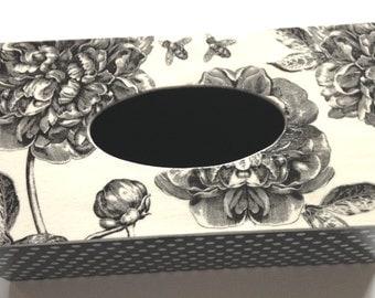handmade wooden tissue box cover/ kleenex box holder, shabby chic style, vintage, peony, polka dots, black & white