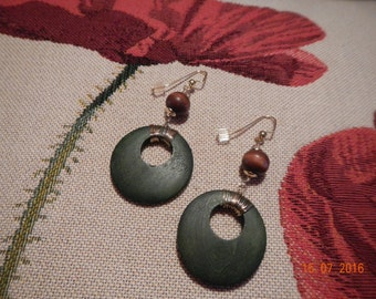 Gold-tone Hooked/Wrapped Brown/Green Wooden Earrings