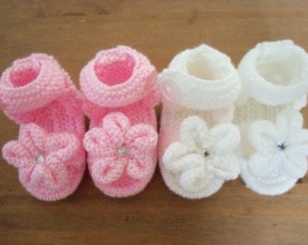 Hand knitted baby sandals