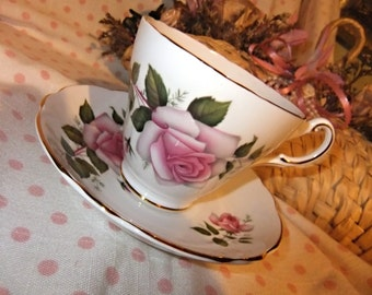 Vintage Regency English Bone China Cup and Saucer large Pink Roses Gold Gild c1960s Pattern No RE30