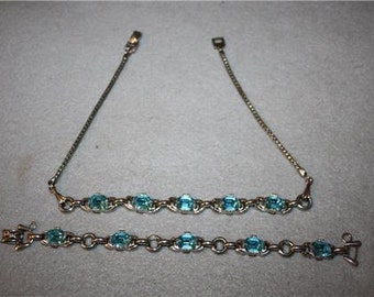 Beautiful Vintage Barclay Blue Tourquoise Necklace and Bracelet Jewelry  Set Retro 1940's - 1950's Stunning Stones Rhinestones (?)