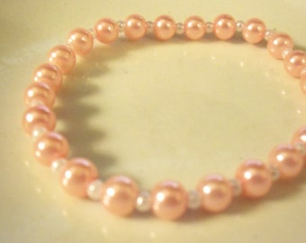 6mm glass pearl stretch bracelet