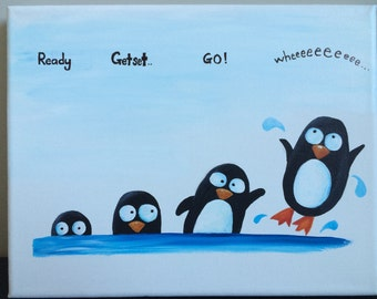 "Acrylic painting on canvas (8x10""): Four Silly Penguins"