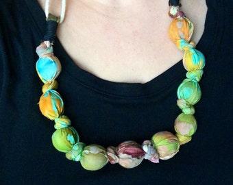 Colorful Batik Print Fabric Boho Beaded Necklace