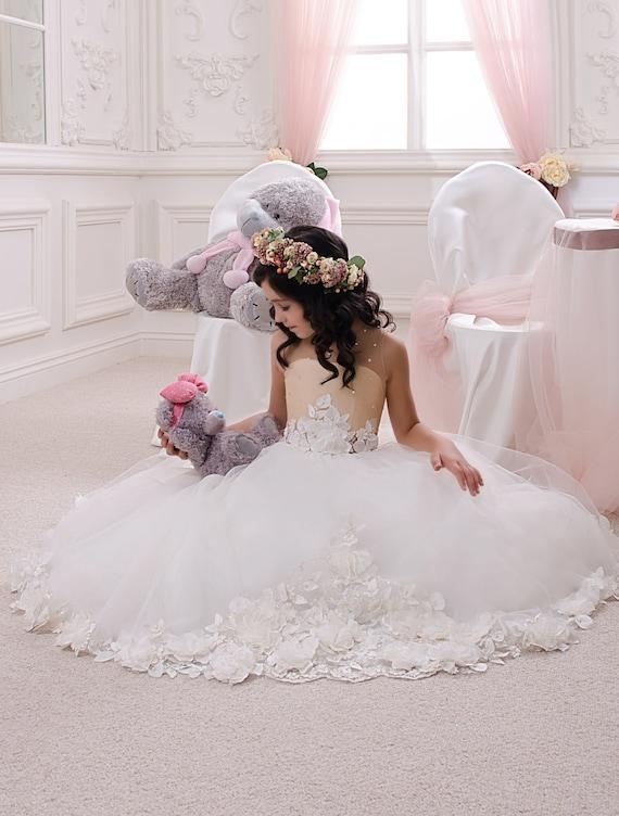 Beige flower girl dress wedding party holiday birthday bridesmaid