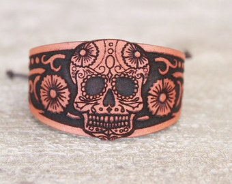 Dia de Los Muertos - Day of The Dead - Jewelry - Leather Bracelet - Leather Cuff -Halloween - Bohemian/Gypsy/Hippie