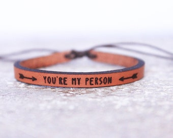 Boho Leather Bracelet - You're my person - Couple's Valentine Gift- Women's/Men's  Valentine Gift- Boho Bracelet - Leather Bracelet/ Cuff