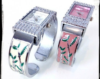 80's Vintage Watch - White or Pink Enamel Bamboo Design - Silver tone