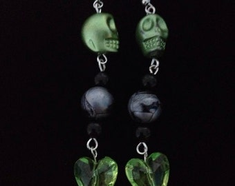 No.867 Green Skull And Heart Earrings