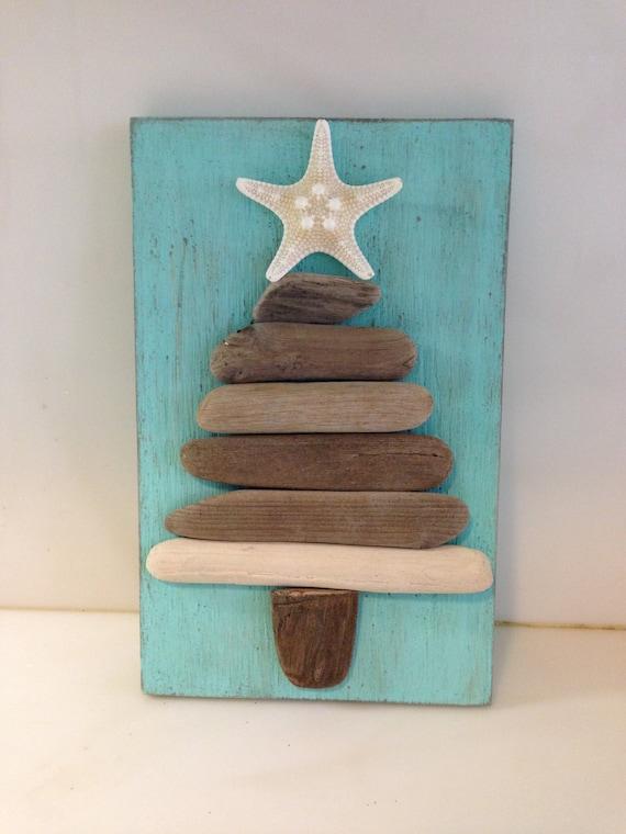 Driftwood art driftwood christmas tree coastal christmas for How to make a hanging driftwood christmas tree