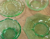 Green Depression Mixed Lot ~ Mismatched Set of 4 Dishes ~ Assorted Glass Plates & Bowls