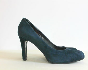 Italian suede shoes Soft Leather Shoes Office Comfortable Court shoes High heel Ladies Secretary Round Toe Court Shoes