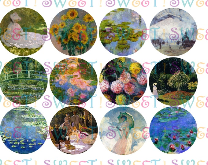 Edible Monet Painting Cupcake, Cookie & Oreo Toppers - Wafer Paper or Frosting Sheet