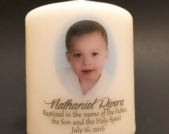 "3"" Personalized Baptismal Candle favors - Set of 12"