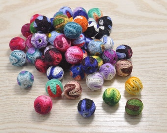 round crochet beads 14mm, 20pcs colorful textile ball necklace links,crochet balls for handmade,beads craft diy jewellery making