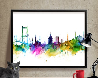 Istanbul Skyline, Istanbul  Cityscape, Istanbul  Print, Watercolor Art, Watercolor Painting,Istanbul  City Art, Map Poster, Skyline Art(170)