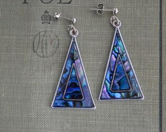Vintage 1980s Abalone Triangular Dangle Earrings