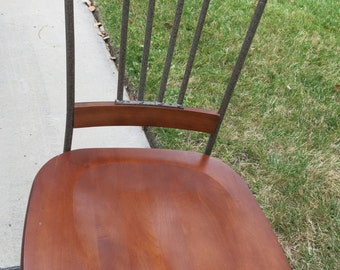 Beautiful Wood and Iron Dining Room Chair Set