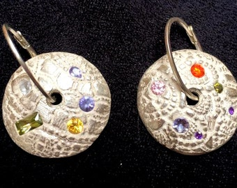 pure silver earrings with cubic zirconia