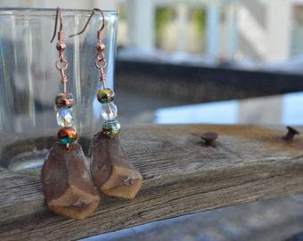 two swirl pine cone earrings