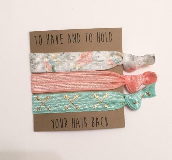 Bridesmaid hair tie favors//hair tie card, hair tie favors, bridesmaid gift, bachelorette gift,party favors, wedding