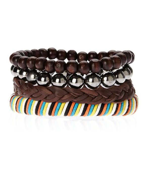 Mens Leather Bracelet Set Multi