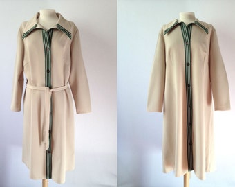 Vintage 70s Coat | 70s Cream Coat | 70s Coat Lightweight | Cream Medium M Large L