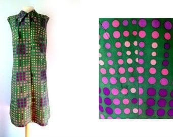 70s Dress | Polka Dot Dress | Polka Dot Dress Large | Green Polka Dots