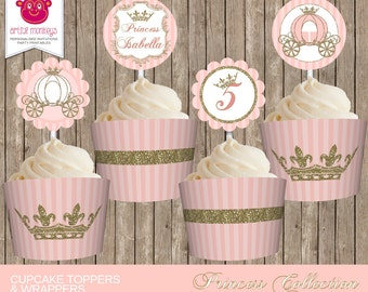 Printable Princess Party Cupcake Toppers and Wrappers | Personalized