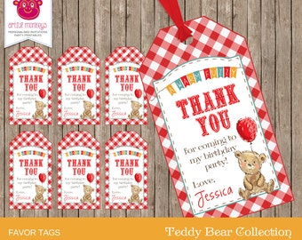Printable Teddy Bear's Picnic Favor Tags | Personalized