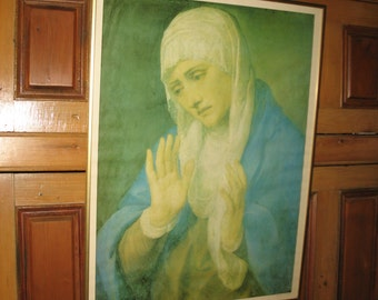 Poster of the mother of Sorrows by Tizian Vecelli.  Etching, lithography.