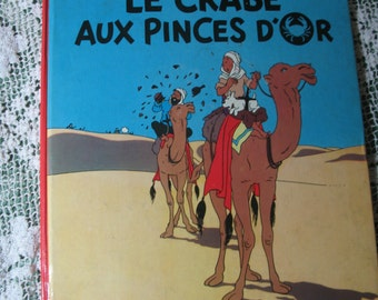 Vintage book tintin French edition the crab to the tongs of gold 1966