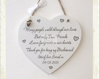 Bridesmaid Heart Wooden Maid of Honour Plaque Personalised Wedding Sign W177