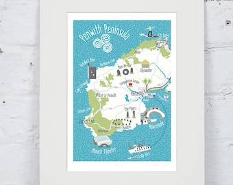 Illustrated Map of Cornwall - Penzance - Surfing - St Ives - Hand-drawn - A4 Art Print - Perfect Gift - Made in UK - Ready to Frame