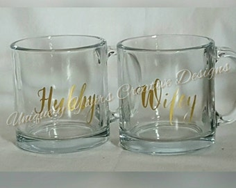 Hubby and Wifey Coffee Mugs, Mr and Mrs Coffee Mugs, Clear Glass Coffee Mug Set, Wedding Gift, Personalized Gift, Realtor Closing Gift